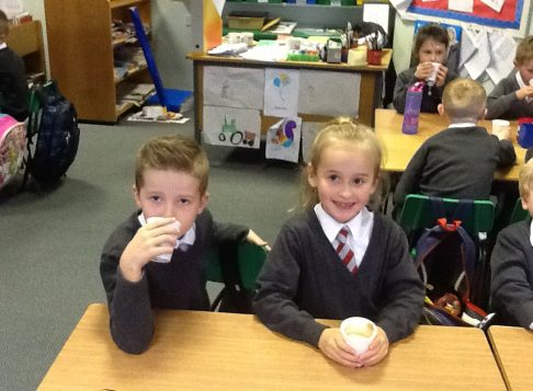 We used adjectives to describe the hot chocolate.